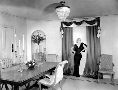 Carole Lombard at home with interior design by Billy Haines