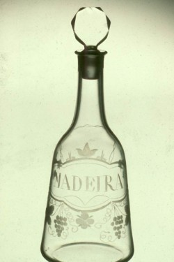 "Clear blown glass and etched ""Madeira"" decanter with stopper"
