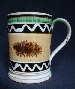 English mocha tankard, ca. 1830–40 with dendritic designs