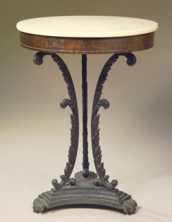 Cast-iron and rosewood marble-top gueridon, attributed to Duncan Phyfe & Sons