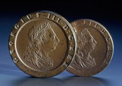 Two-pence and penny coins