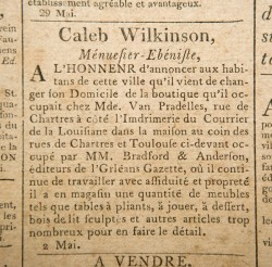Caleb Wilkinson, Ménuesier-Ebéniste newspaper advertisement