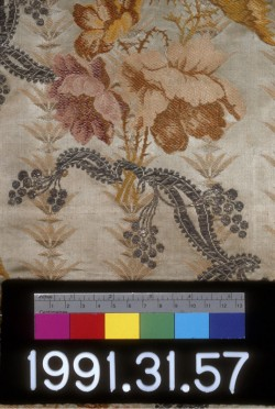 Silk with metallic fibers, 1743-1770. Detail.