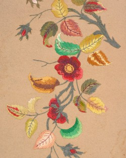 Tablecloth was embroidered in Pennsylvania between 1890 and 1910