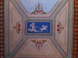 Decorated entry hall ceiling from Abram Piatt Mansion