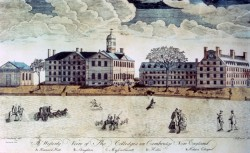 View of Harvard College buildings, 1767.  Engraving by Paul Revere.